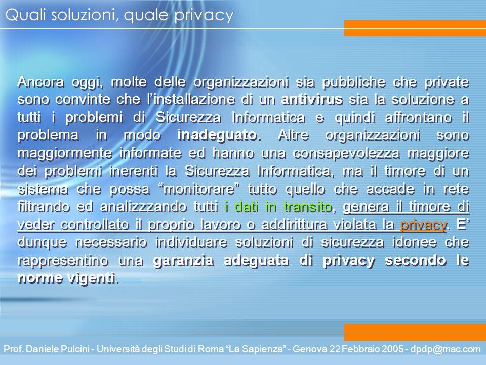 Prof. Daniele Pulcini - Università degli Studi di Roma La Sapienza - Genova 22 Febbraio 2005 - dpdp@mac.com Quali soluzioni, quale privacy Ancora oggi
