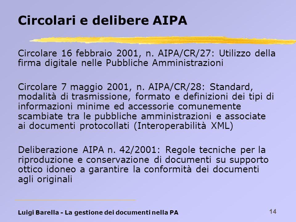 Luigi Barella - La gestione dei documenti nella PA 14 Circolari e delibere AIPA Circolare 16 febbraio 2001, n. AIPA/CR/27: Utilizzo della firma digita