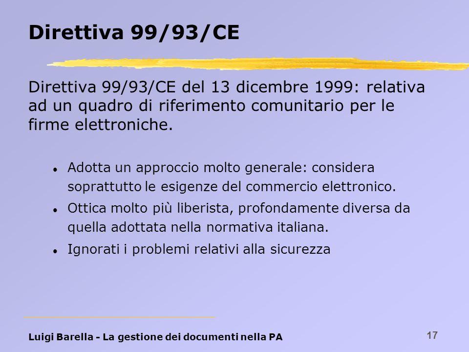 Luigi Barella - La gestione dei documenti nella PA 17 Direttiva 99/93/CE Direttiva 99/93/CE del 13 dicembre 1999: relativa ad un quadro di riferimento