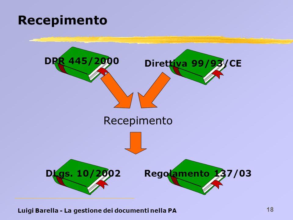 Luigi Barella - La gestione dei documenti nella PA 18 Recepimento DPR 445/2000Direttiva 99/93/CEDLgs. 10/2002Regolamento 137/03