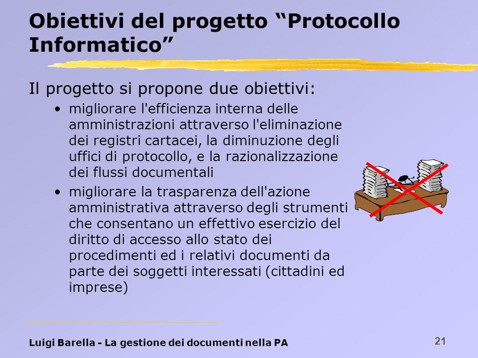 Luigi Barella - La gestione dei documenti nella PA 21 Obiettivi del progetto Protocollo Informatico Il progetto si propone due obiettivi: migliorare l
