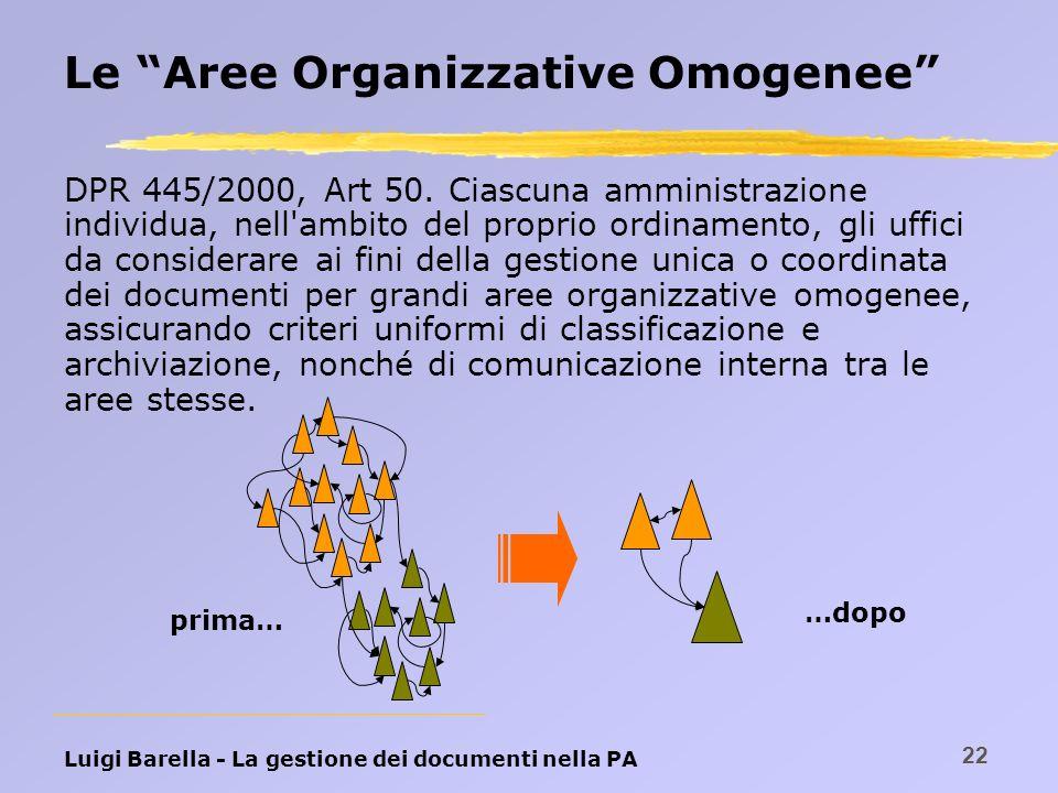 Luigi Barella - La gestione dei documenti nella PA 22 Le Aree Organizzative Omogenee DPR 445/2000, Art 50. Ciascuna amministrazione individua, nell'am