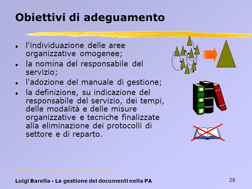 Luigi Barella - La gestione dei documenti nella PA 26 Obiettivi di adeguamento l l'individuazione delle aree organizzative omogenee; l la nomina del r