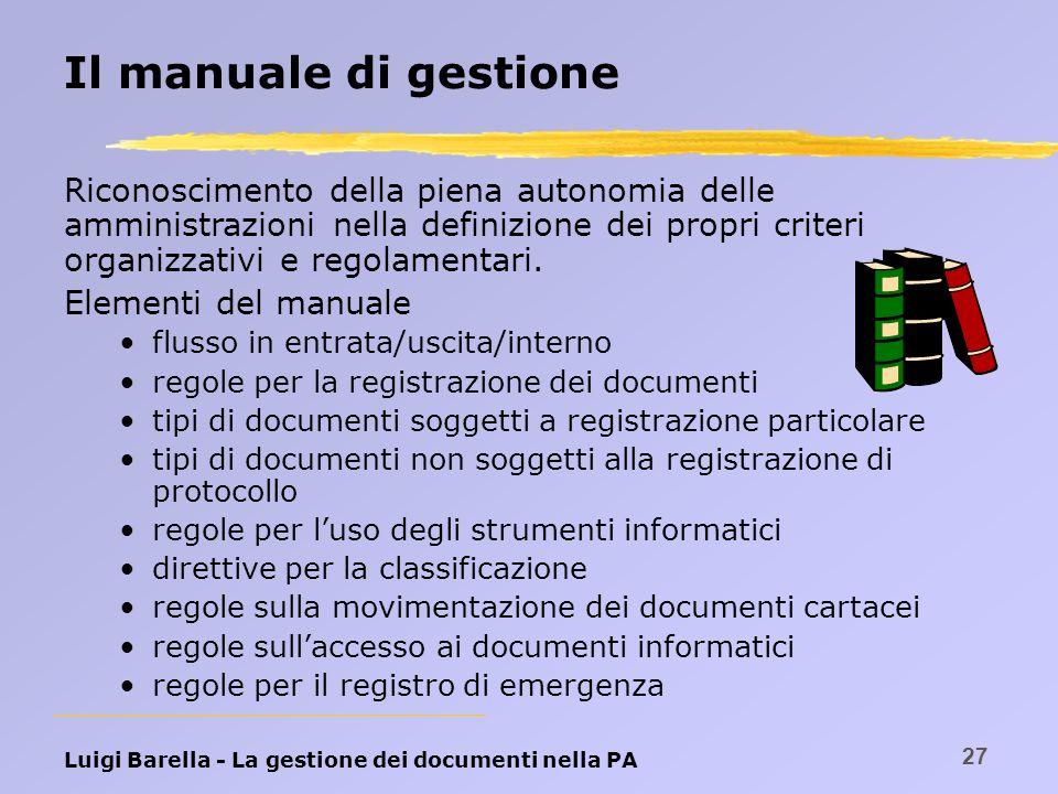 Luigi Barella - La gestione dei documenti nella PA 27 Il manuale di gestione Riconoscimento della piena autonomia delle amministrazioni nella definizi