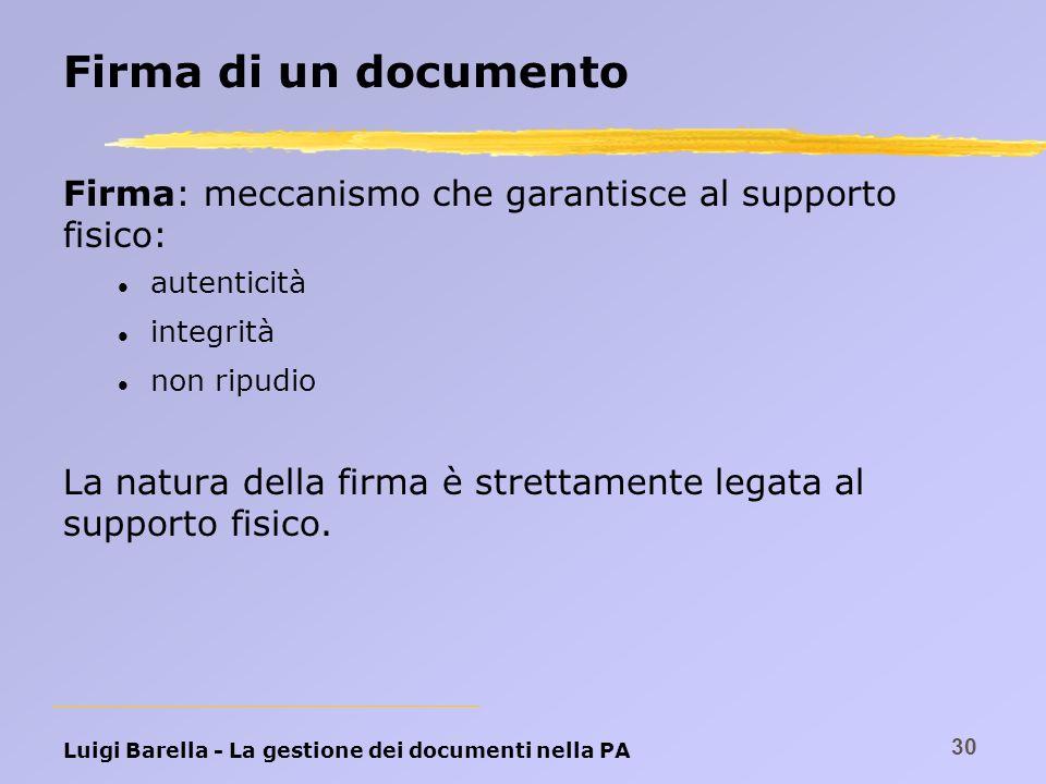 Luigi Barella - La gestione dei documenti nella PA 30 Firma di un documento Firma: meccanismo che garantisce al supporto fisico: l autenticità l integ