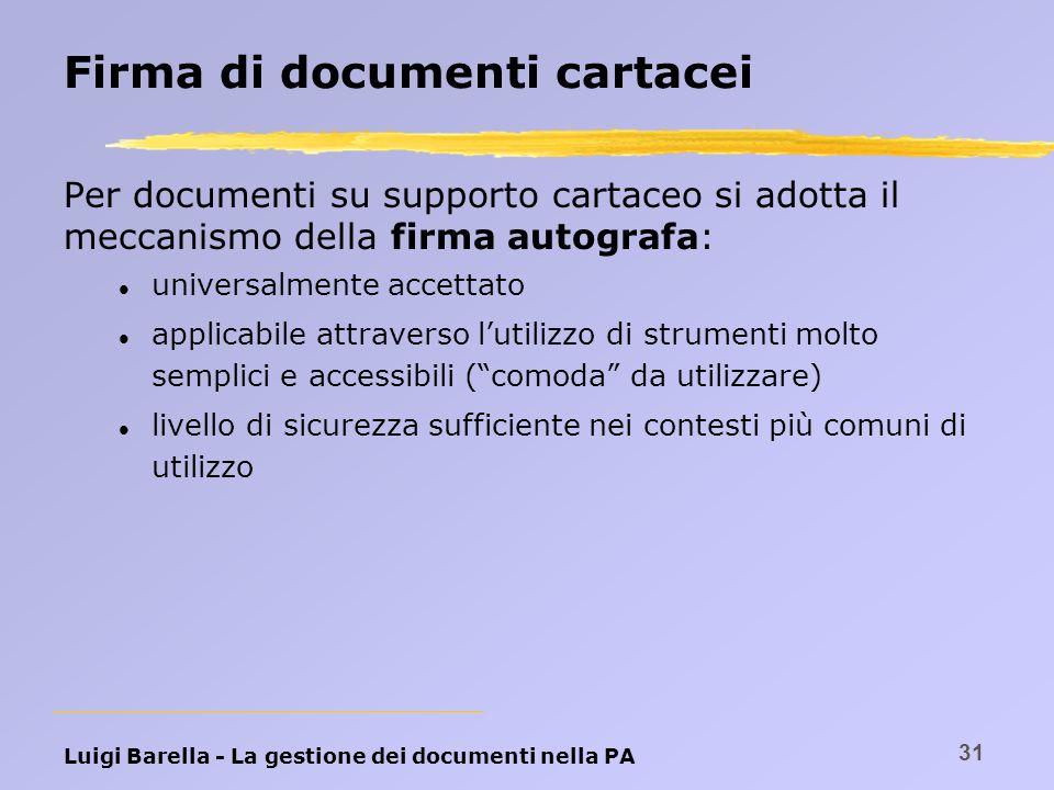 Luigi Barella - La gestione dei documenti nella PA 31 Firma di documenti cartacei Per documenti su supporto cartaceo si adotta il meccanismo della fir