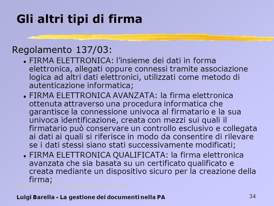 Luigi Barella - La gestione dei documenti nella PA 34 Gli altri tipi di firma Regolamento 137/03: l FIRMA ELETTRONICA: linsieme dei dati in forma elet