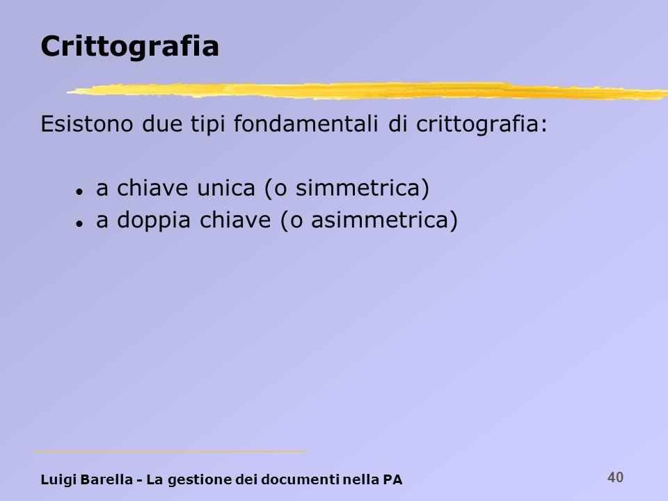 Luigi Barella - La gestione dei documenti nella PA 40 Crittografia Esistono due tipi fondamentali di crittografia: l a chiave unica (o simmetrica) l a