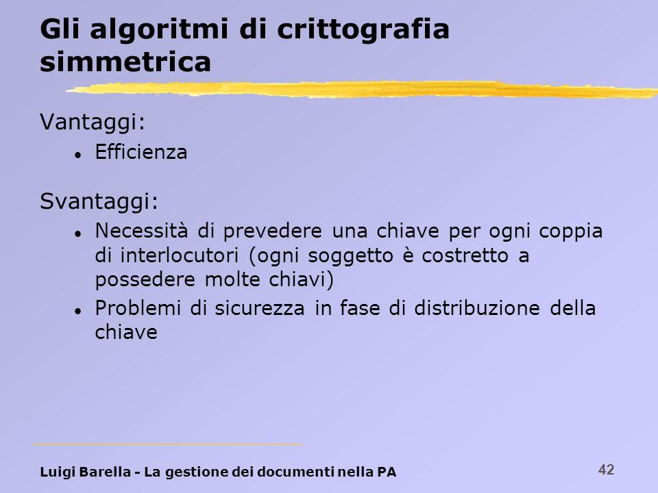 Luigi Barella - La gestione dei documenti nella PA 42 Gli algoritmi di crittografia simmetrica Vantaggi: l Efficienza Svantaggi: l Necessità di preved