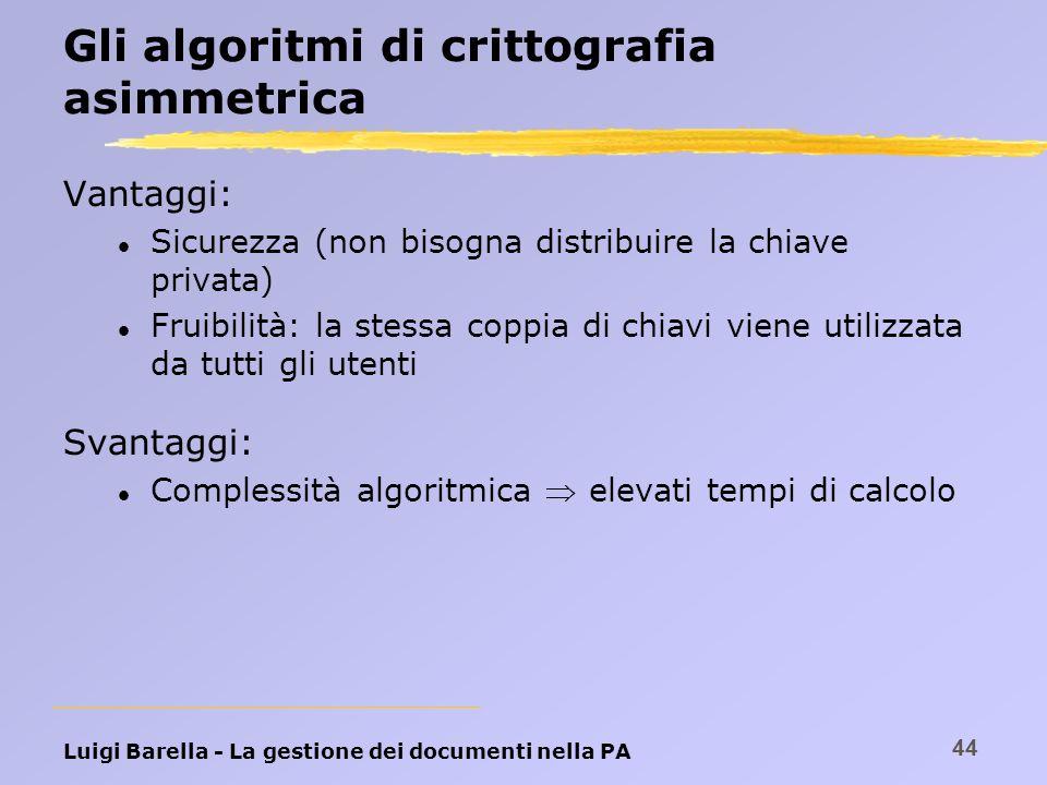 Luigi Barella - La gestione dei documenti nella PA 44 Gli algoritmi di crittografia asimmetrica Vantaggi: l Sicurezza (non bisogna distribuire la chia