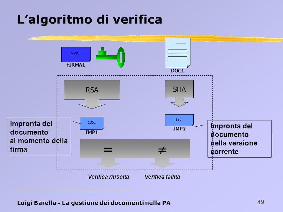 Luigi Barella - La gestione dei documenti nella PA 49 Lalgoritmo di verifica DOC1 SHA IMP2 135.. FIRMA1 XYZ.. RSA IMP1 135.. Impronta del documento ne