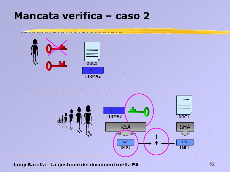Luigi Barella - La gestione dei documenti nella PA 52 Mancata verifica – caso 2 DOC1 FIRMA2 XYZ.. DOC1 FIRMA2 XYZ.. RSASHA IMP1 135.. IMP2 246.. !