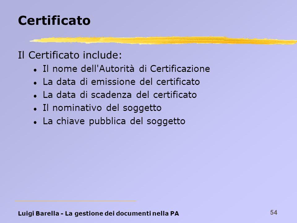 Luigi Barella - La gestione dei documenti nella PA 54 Certificato Il Certificato include: l Il nome dell'Autorità di Certificazione l La data di emiss