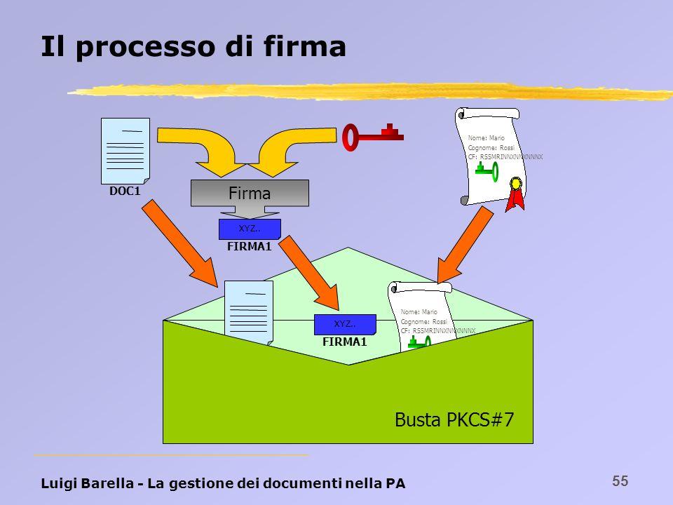 Luigi Barella - La gestione dei documenti nella PA 55 Il processo di firma Nome: Mario Cognome: Rossi CF: RSSMRINNXNNXNNNX DOC1 FIRMA1 XYZ.. Firma DOC