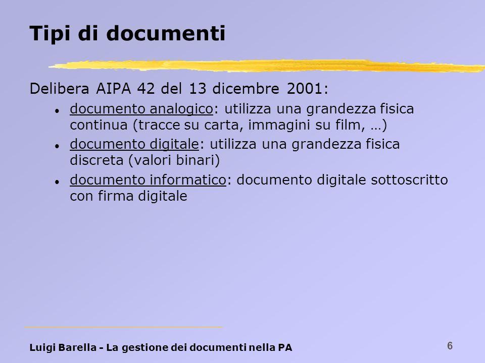 Luigi Barella - La gestione dei documenti nella PA 6 Tipi di documenti Delibera AIPA 42 del 13 dicembre 2001: l documento analogico: utilizza una gran