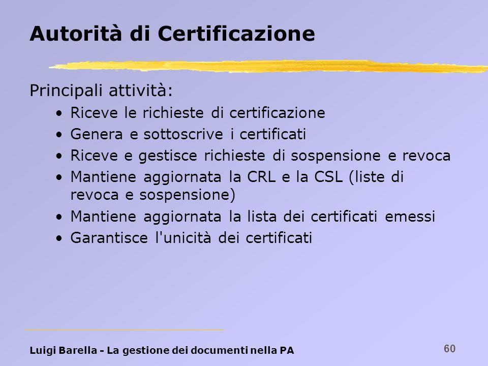 Luigi Barella - La gestione dei documenti nella PA 60 Autorità di Certificazione Principali attività: Riceve le richieste di certificazione Genera e s