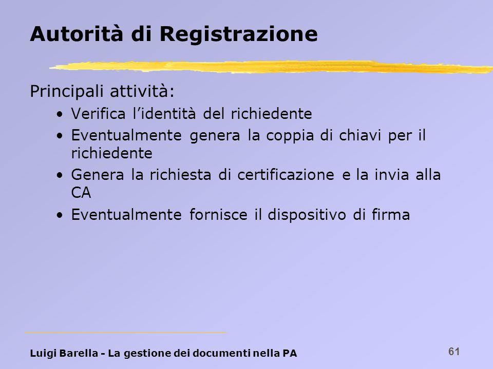 Luigi Barella - La gestione dei documenti nella PA 61 Autorità di Registrazione Principali attività: Verifica lidentità del richiedente Eventualmente