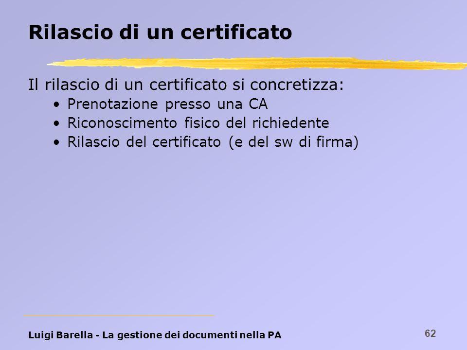 Luigi Barella - La gestione dei documenti nella PA 62 Rilascio di un certificato Il rilascio di un certificato si concretizza: Prenotazione presso una