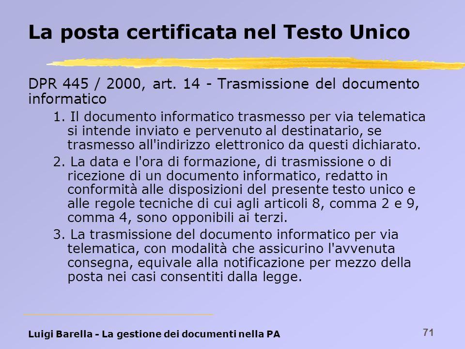 Luigi Barella - La gestione dei documenti nella PA 71 La posta certificata nel Testo Unico DPR 445 / 2000, art. 14 - Trasmissione del documento inform