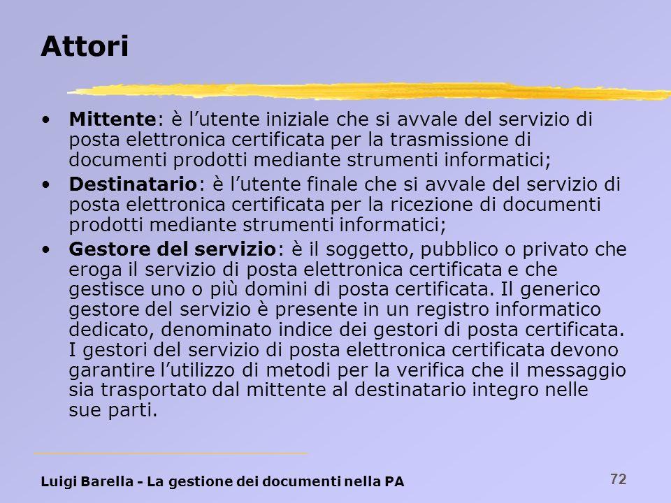 Luigi Barella - La gestione dei documenti nella PA 72 Attori Mittente: è lutente iniziale che si avvale del servizio di posta elettronica certificata