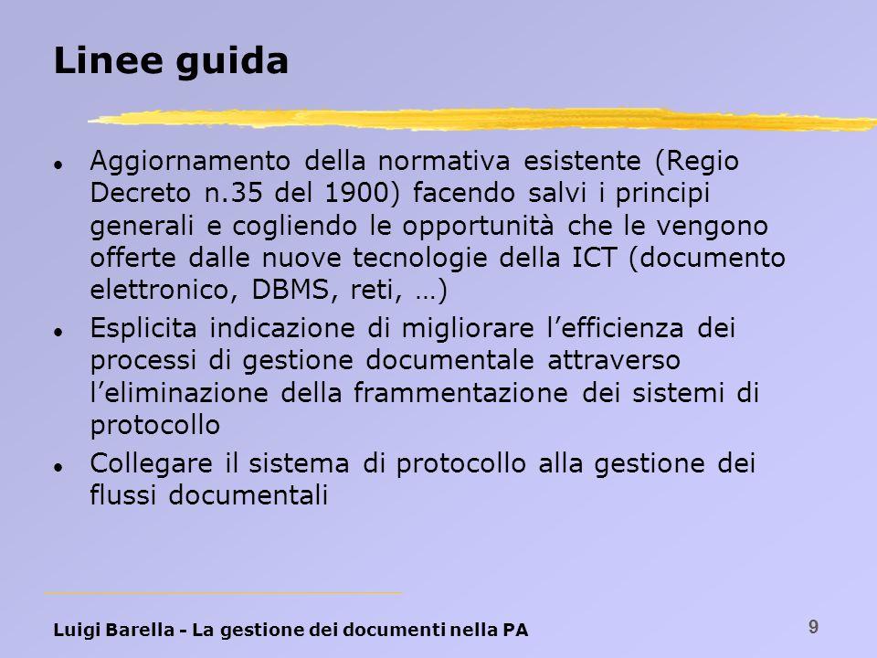 Luigi Barella - La gestione dei documenti nella PA 9 Linee guida l Aggiornamento della normativa esistente (Regio Decreto n.35 del 1900) facendo salvi