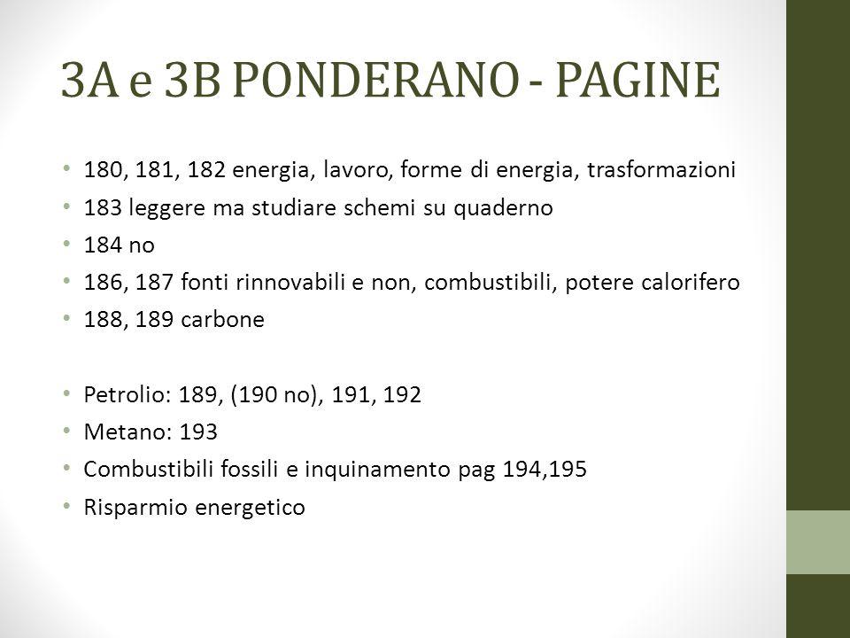 3A e 3B PONDERANO - PAGINE 180, 181, 182 energia, lavoro, forme di energia, trasformazioni 183 leggere ma studiare schemi su quaderno 184 no 186, 187