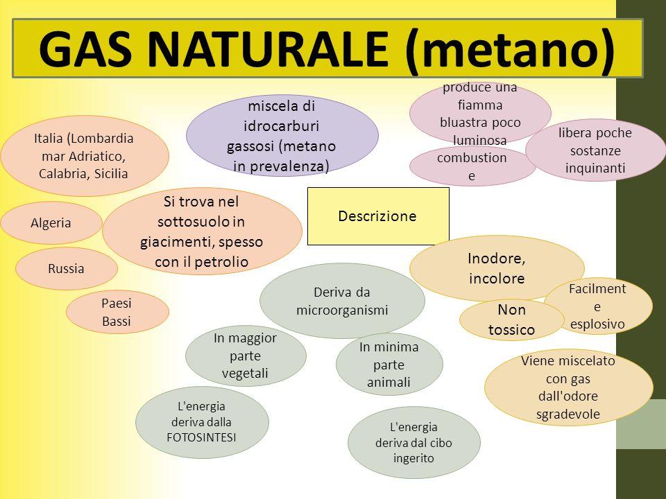 GAS NATURALE (metano) Utilizzo Materia prima in industria chimica Cambustibile carburante Motori a scoppio fertilizzanti, resine, gomma sintetica domestico industriale Turbine nelle centrali