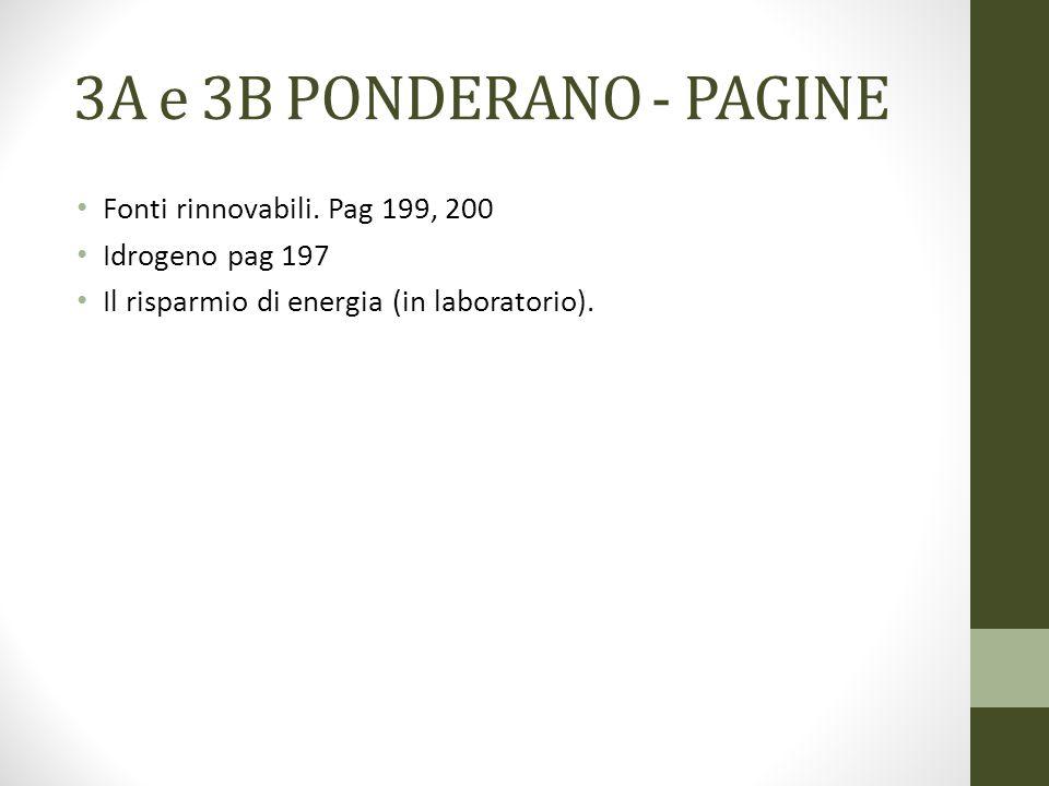 3A e 3B PONDERANO - PAGINE Fonti rinnovabili. Pag 199, 200 Idrogeno pag 197 Il risparmio di energia (in laboratorio).