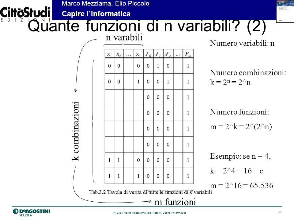 © 2010 Marco Mezzalama, Elio Piccolo, Capire linformatica 12 Marco Mezzlama, Elio Piccolo Capire linformatica Quante funzioni di n variabili.