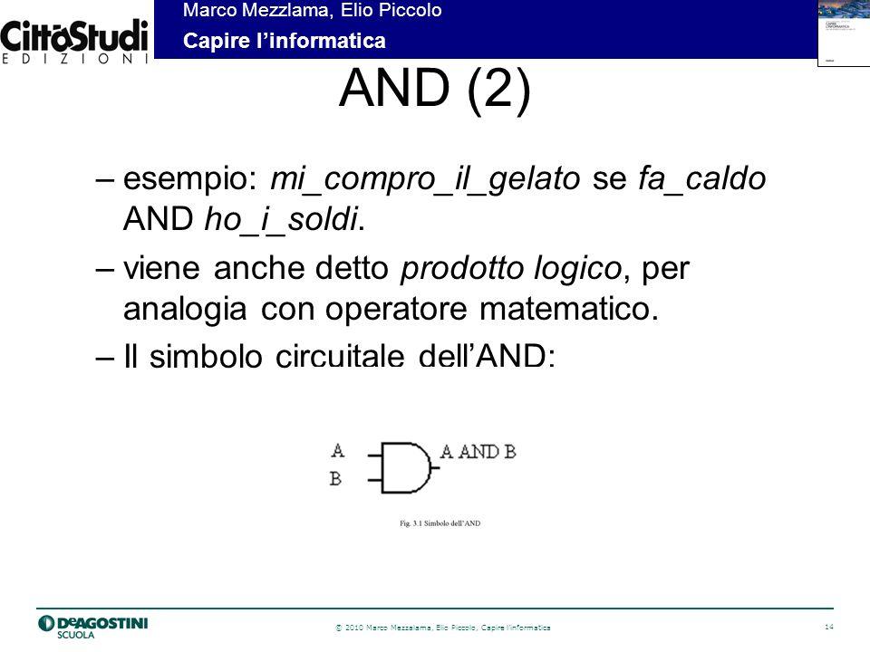 © 2010 Marco Mezzalama, Elio Piccolo, Capire linformatica 14 Marco Mezzlama, Elio Piccolo Capire linformatica AND (2) –esempio: mi_compro_il_gelato se fa_caldo AND ho_i_soldi.