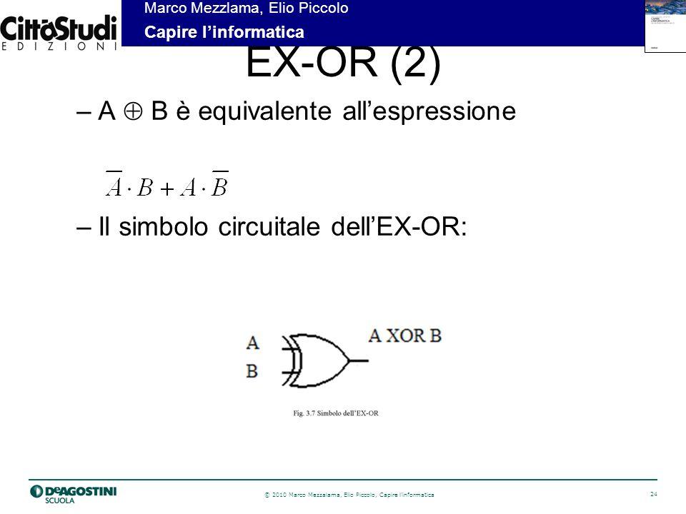 © 2010 Marco Mezzalama, Elio Piccolo, Capire linformatica 24 Marco Mezzlama, Elio Piccolo Capire linformatica EX-OR (2) –A B è equivalente allespressione –Il simbolo circuitale dellEX-OR: