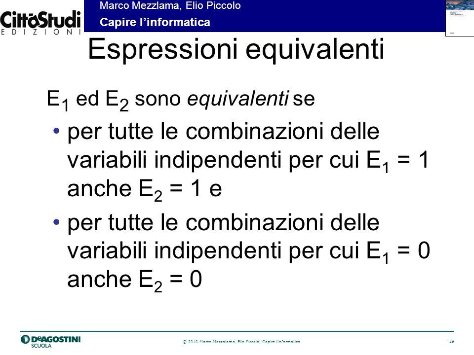 © 2010 Marco Mezzalama, Elio Piccolo, Capire linformatica 29 Marco Mezzlama, Elio Piccolo Capire linformatica Espressioni equivalenti E 1 ed E 2 sono equivalenti se per tutte le combinazioni delle variabili indipendenti per cui E 1 = 1 anche E 2 = 1 e per tutte le combinazioni delle variabili indipendenti per cui E 1 = 0 anche E 2 = 0