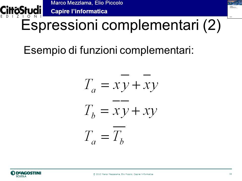 © 2010 Marco Mezzalama, Elio Piccolo, Capire linformatica 33 Marco Mezzlama, Elio Piccolo Capire linformatica Espressioni complementari (2) Esempio di funzioni complementari: