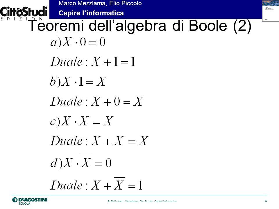 © 2010 Marco Mezzalama, Elio Piccolo, Capire linformatica 39 Marco Mezzlama, Elio Piccolo Capire linformatica Teoremi dellalgebra di Boole (3)