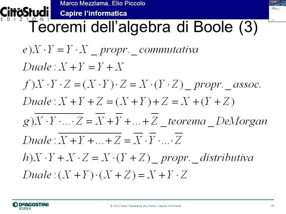 © 2010 Marco Mezzalama, Elio Piccolo, Capire linformatica 40 Marco Mezzlama, Elio Piccolo Capire linformatica Teoremi dellalgebra di Boole (4)