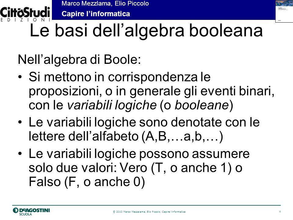 © 2010 Marco Mezzalama, Elio Piccolo, Capire linformatica 4 Marco Mezzlama, Elio Piccolo Capire linformatica Le basi dellalgebra booleana Nellalgebra di Boole: Si mettono in corrispondenza le proposizioni, o in generale gli eventi binari, con le variabili logiche (o booleane) Le variabili logiche sono denotate con le lettere dellalfabeto (A,B,…a,b,…) Le variabili logiche possono assumere solo due valori: Vero (T, o anche 1) o Falso (F, o anche 0)