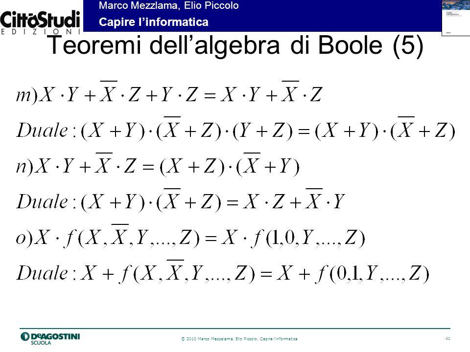 © 2010 Marco Mezzalama, Elio Piccolo, Capire linformatica 41 Marco Mezzlama, Elio Piccolo Capire linformatica Teoremi dellalgebra di Boole (5)