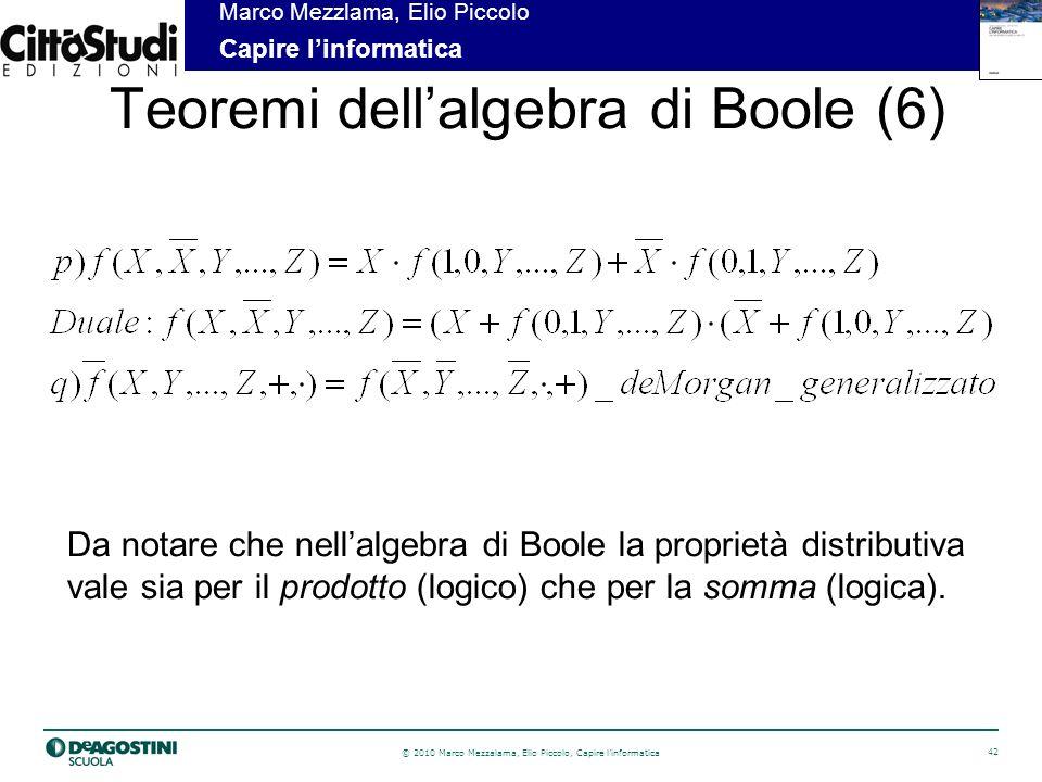 © 2010 Marco Mezzalama, Elio Piccolo, Capire linformatica 42 Marco Mezzlama, Elio Piccolo Capire linformatica Teoremi dellalgebra di Boole (6) Da notare che nellalgebra di Boole la proprietà distributiva vale sia per il prodotto (logico) che per la somma (logica).