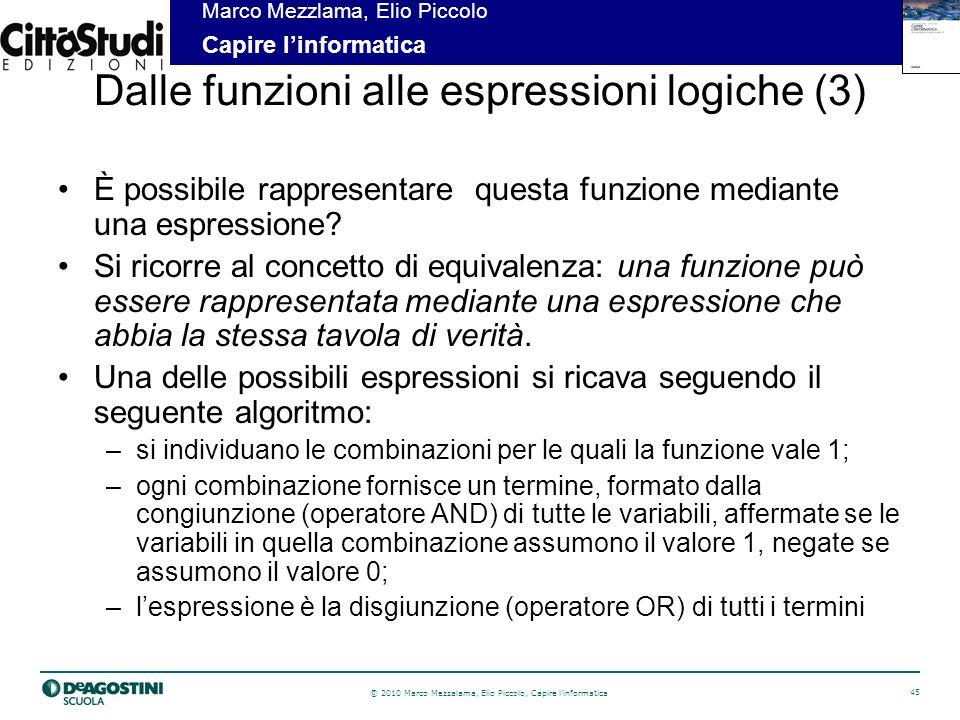 © 2010 Marco Mezzalama, Elio Piccolo, Capire linformatica 46 Marco Mezzlama, Elio Piccolo Capire linformatica Dalle funzioni alle espressioni logiche (4) Espressione equivalente del tipo somma di prodotti (min term): Applicando i teoremi di base (quello della fusione diretta), si ottiene la forma minima: