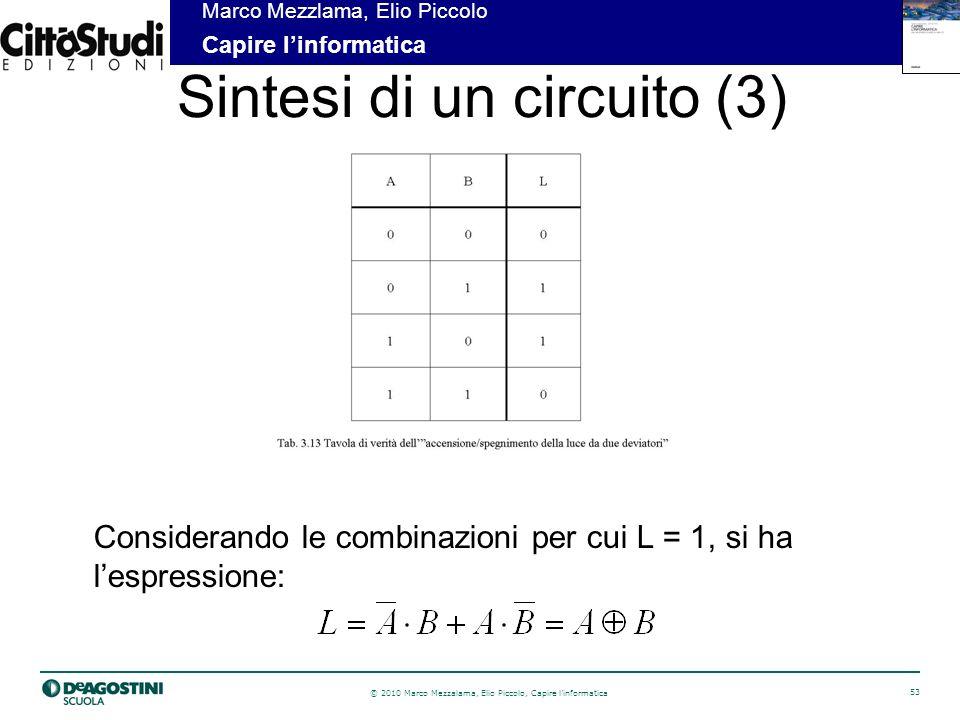 © 2010 Marco Mezzalama, Elio Piccolo, Capire linformatica 53 Marco Mezzlama, Elio Piccolo Capire linformatica Sintesi di un circuito (3) Considerando le combinazioni per cui L = 1, si ha lespressione: