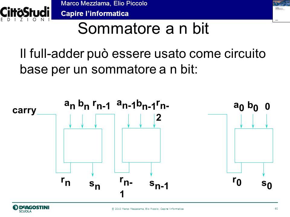 © 2010 Marco Mezzalama, Elio Piccolo, Capire linformatica 60 Marco Mezzlama, Elio Piccolo Capire linformatica Sommatore a n bit Il full-adder può essere usato come circuito base per un sommatore a n bit: anan bnbn r n-1 a0a0 b0b0 0 a n-1 b n-1 r n- 2 r0r0 r n- 1 rnrn s0s0 s n-1 snsn carry