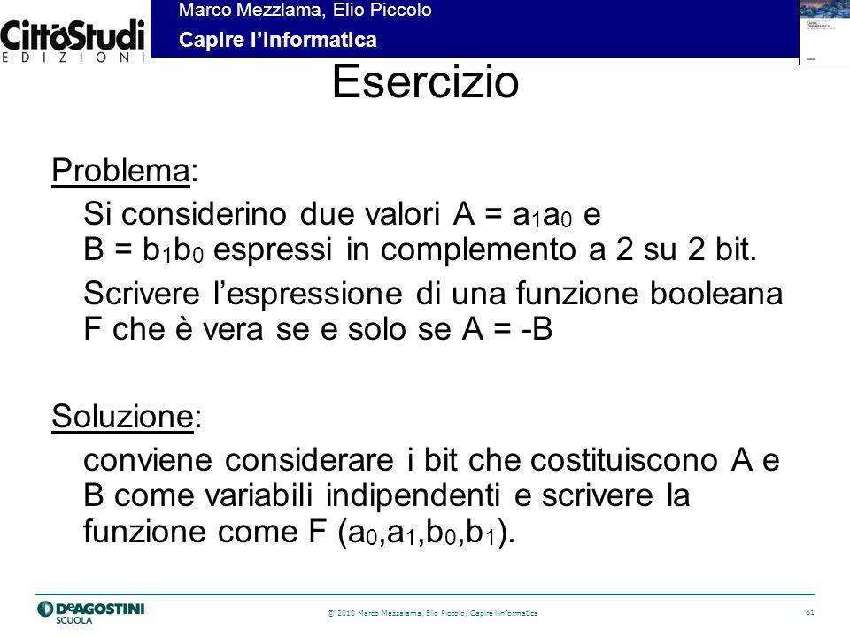 © 2010 Marco Mezzalama, Elio Piccolo, Capire linformatica 62 Marco Mezzlama, Elio Piccolo Capire linformatica Esercizio (2)