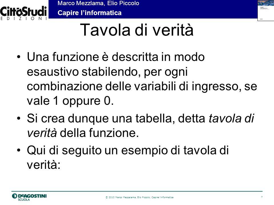 © 2010 Marco Mezzalama, Elio Piccolo, Capire linformatica 8 Marco Mezzlama, Elio Piccolo Capire linformatica Esempio di tavola di verità