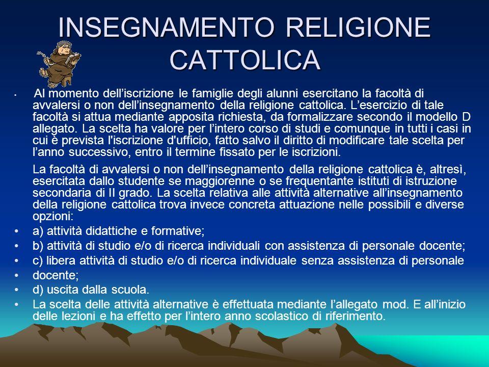 INSEGNAMENTO RELIGIONE CATTOLICA Al momento delliscrizione le famiglie degli alunni esercitano la facoltà di avvalersi o non dellinsegnamento della religione cattolica.