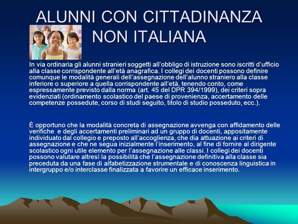 ALUNNI CON CITTADINANZA NON ITALIANA In via ordinaria gli alunni stranieri soggetti allobbligo di istruzione sono iscritti dufficio alla classe corrispondente alletà anagrafica.