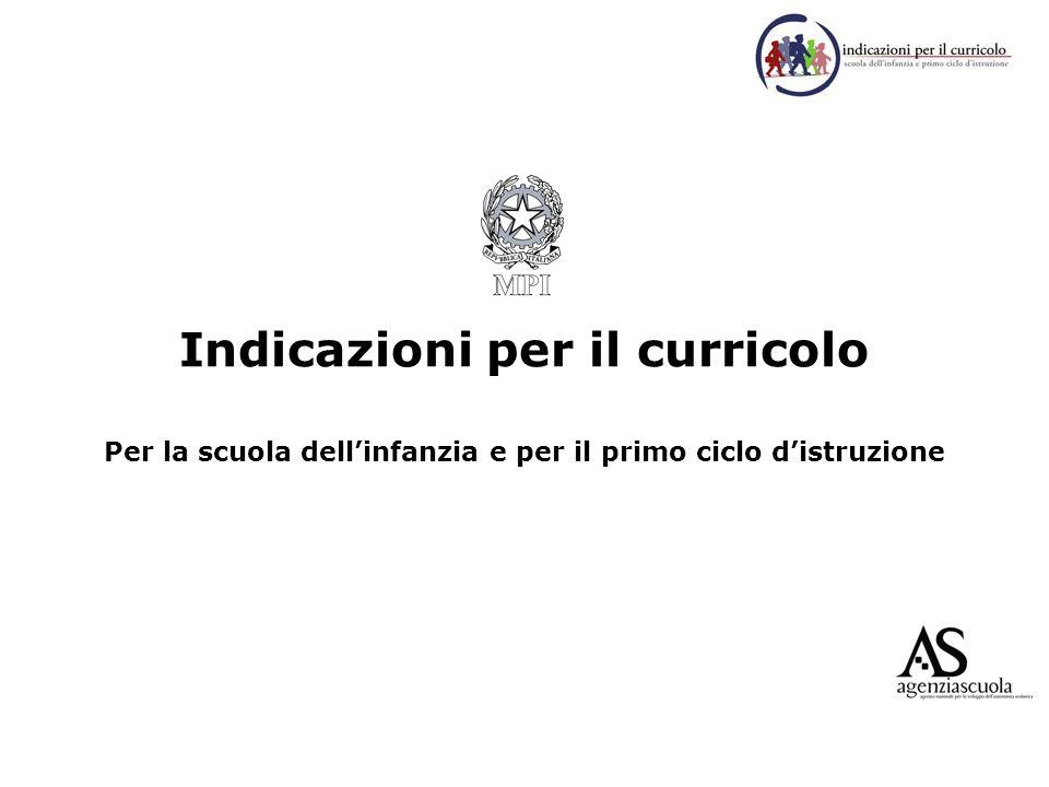 Indicazioni per il curricolo Per la scuola dellinfanzia e per il primo ciclo distruzione