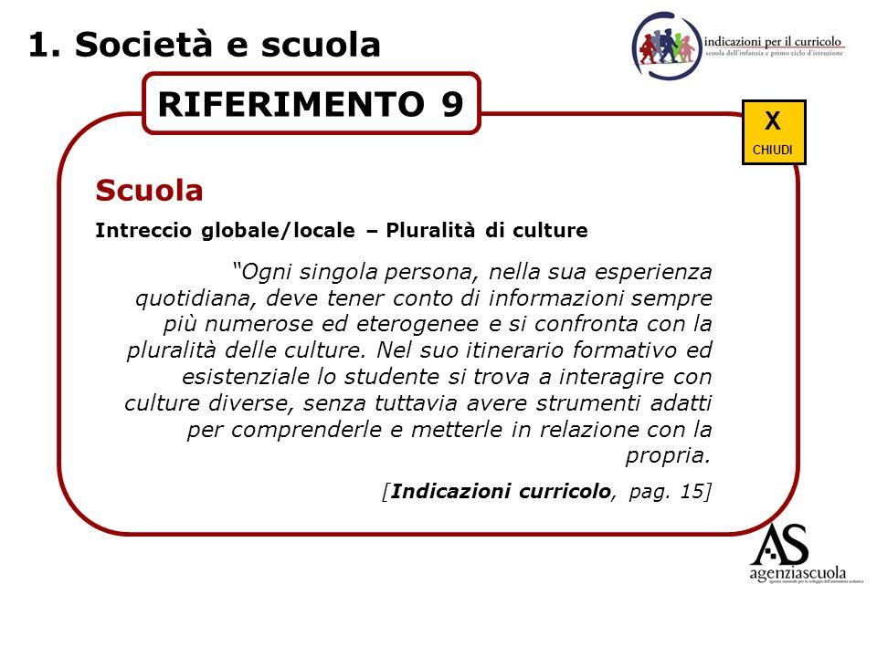 RIFERIMENTO 9 Scuola Intreccio globale/locale – Pluralità di culture Ogni singola persona, nella sua esperienza quotidiana, deve tener conto di inform