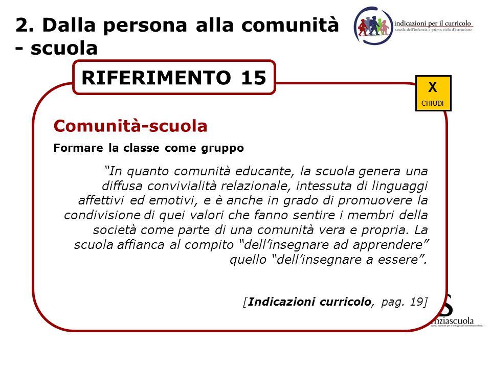 2. Dalla persona alla comunità - scuola RIFERIMENTO 15 Comunità-scuola Formare la classe come gruppo In quanto comunità educante, la scuola genera una