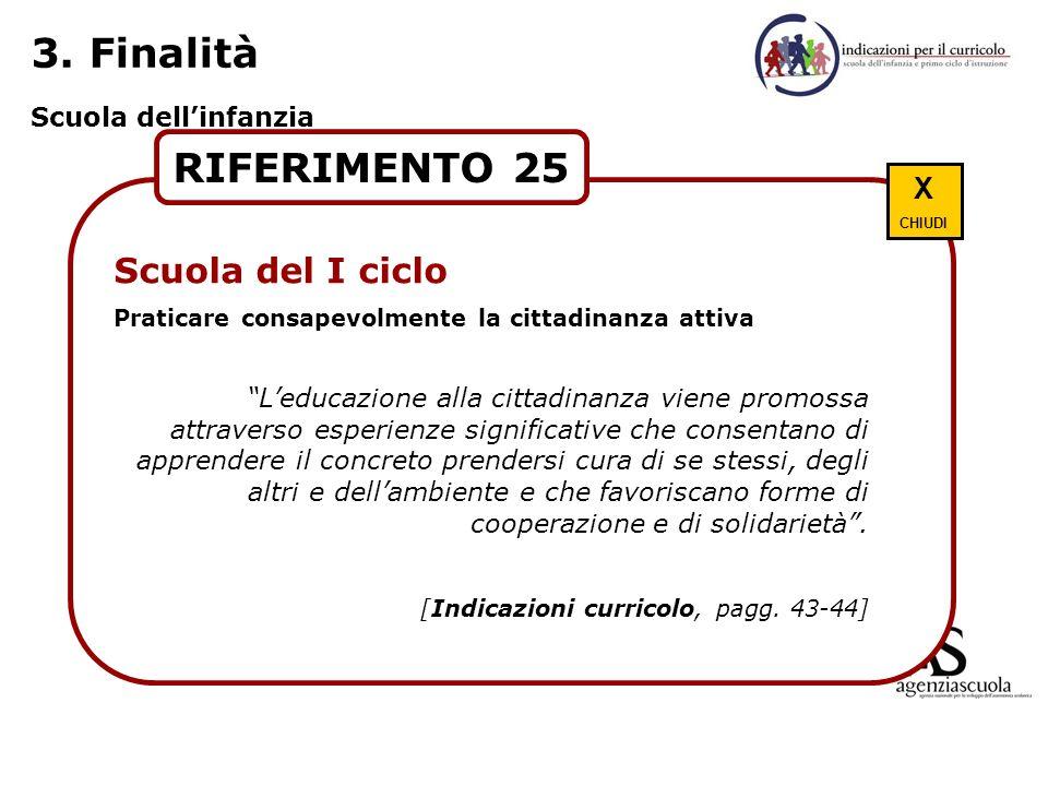 3. Finalità Scuola dellinfanzia RIFERIMENTO 25 Scuola del I ciclo Praticare consapevolmente la cittadinanza attiva Leducazione alla cittadinanza viene