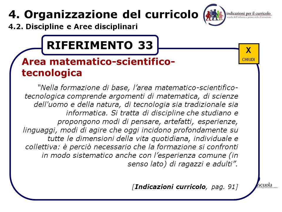 4. Organizzazione del curricolo 4.2. Discipline e Aree disciplinari Ricchezza di stimoli contraddittori Dare senso alla varietà delle esperienze Forma